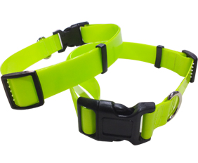 Waterproof 1.2mm thickness very soft flexible TPU pet dog collar fluo yellow