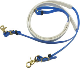 Baby blue glossy horse rein made from TPU coated nylon webbings