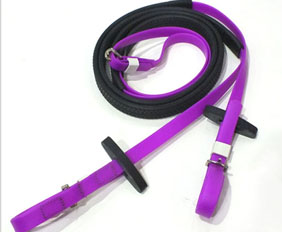 Purple anti-slip rubber grip horse rein made from PVC-nylon
