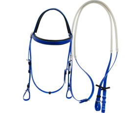 Cold resistant durable baby blue TPU horse headstall with a full browband