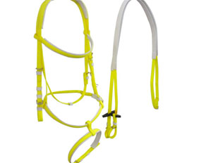 A well-fitted horse bridle with two nosebands in neon yellow