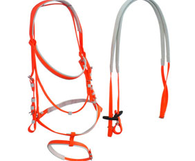 Neon orange quick change bridle PVC with rein sets supply