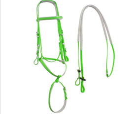 Lime green two nosebands PVC draft horse bridles and tack