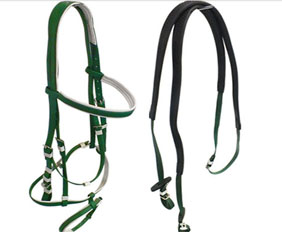 Western type full horse size bridle with two nosebands in PVC