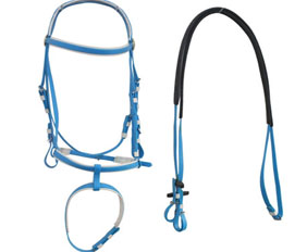 Sky blue PVC horse bridles and reins for sale