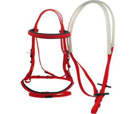 Classic hunter double nosebands bridle with rein red