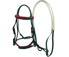 Equestrian supplies PVC riding bridle with rubber reins in dark green