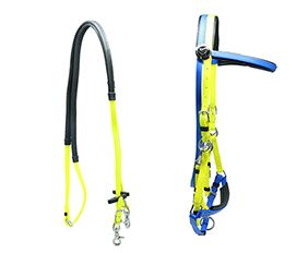 draft horse bridle and rein supplies in yellow and blue