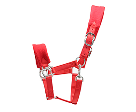 soft padding nylon halter with brass hardware in red